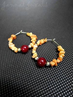Orange Chips and Red Onyx Rings Earrings