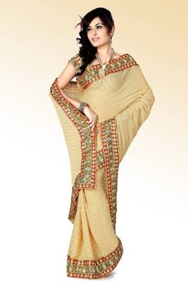 Beige viscose saree with blouse (anc454)