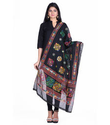 Buy Black cotton embroidered dupatta stole-and-dupatta online