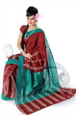 Maroon bhagalpuri silk saree with blouse (als836)