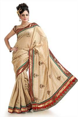 Beige bhagalpuri silk saree with blouse (pnm1041)