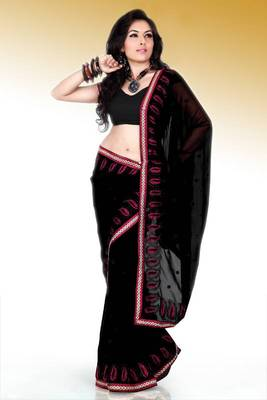 Black faux georgette saree with blouse (anm488)
