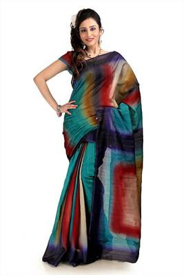 Multicolor bhagalpuri silk saree with blouse (pdm1121)