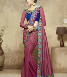 Buy magenta embroidered viscose saree With Blouse viscose-saree online