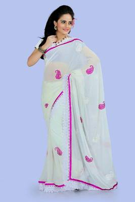 Off white faux georgette saree with blouse (ang874)