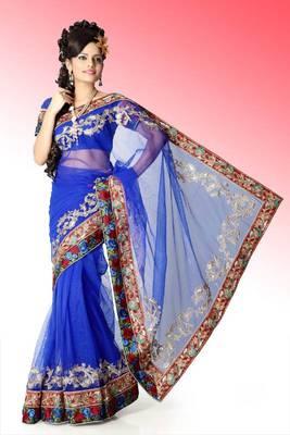 Bollywood Royal blue net saree with blouse (anj571)