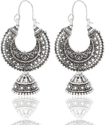 Metal Hoop with jhumki Earrings