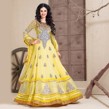 Yellow Anarkali Salwar Kameez Suit