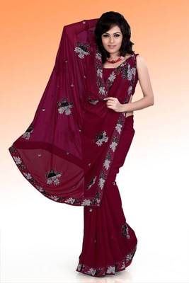 Rich Maroon faux georgette saree with unstitched blouse (ask531)