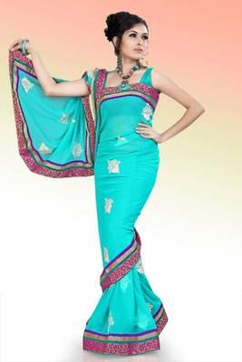 Aqua blue faux georgette saree with unstitched blouse (ask545)