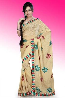 Beige faux georgette saree with unstitched blouse (ask563)