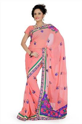 Onion pink faux georgette saree with blouse (aps705)