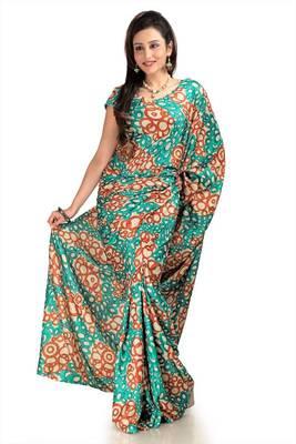 Teal, rust and cream khadi silk saree with blouse (mhn1089)