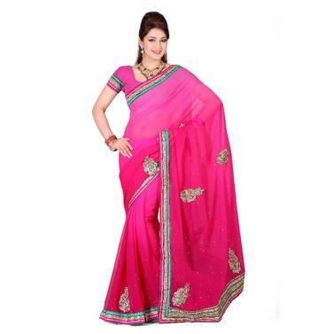 ISHIN Chiffon Pedding Pink Saree MR-9519