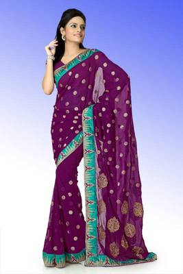 Wine faux georgette saree with unstitched blouse (ant619)