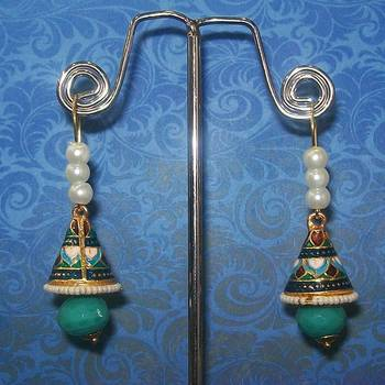 Meenakari Shanku Over the Ear Earring (Pearl Blue)