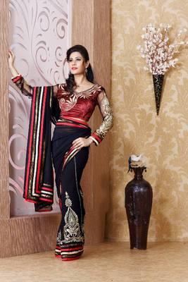 Black faux georgette saree with unstitched blouse (bmc1324)