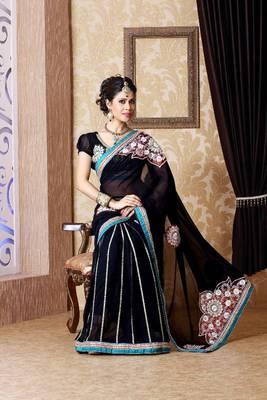 Black faux georgette saree with unstitched blouse (bmc1331)