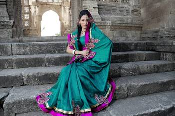 Teal bhagalpuri pure silk saree with unstitched blouse (bwd892)