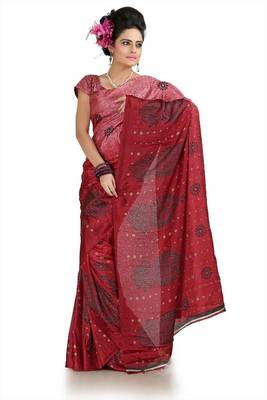 Shaded maroon khadi silk saree with unstitched blouse (flk1003)