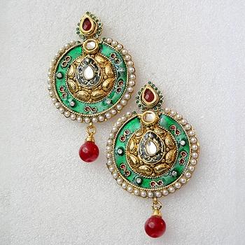 Beautiful Round Green Golden Earrings