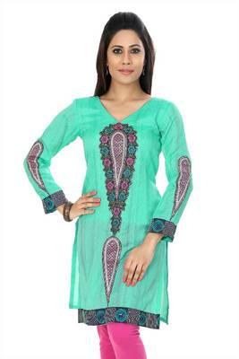 Turquoise bhagalpuri silk readymade kurti (k27)
