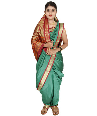 Sea green plain cotton silk nauvari saree