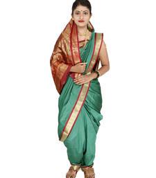 Buy Sea green plain cotton silk nauvari saree nauvari-saree online