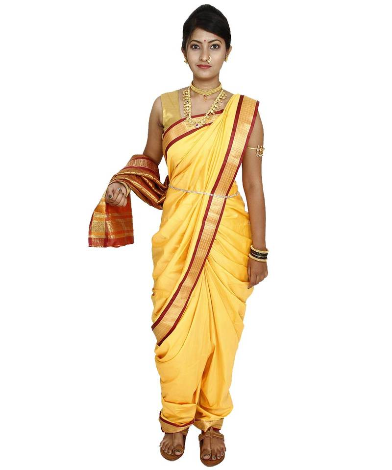 Buy Yellow Plain Cotton Silk Nauvari Saree Online