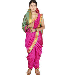 Buy Pink plain cotton silk nauvari saree nauvari-saree online