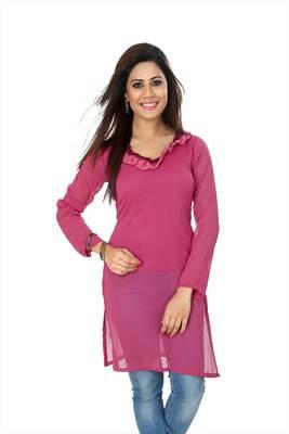 Pink chiffon readymade kurti (k19)