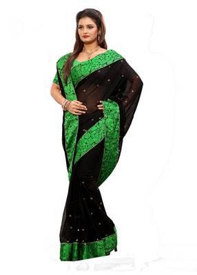 ISHIN Faux Chiffon Black Saree MR-2105-B