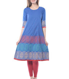 Buy Blue cotton block print stitched kurti long-kurtis online