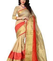 Buy cream woven banarasi silk saree With Blouse kanchipuram-silk-saree online