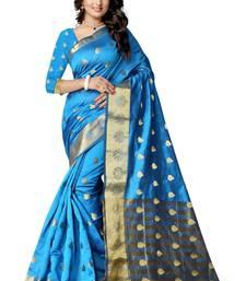 Buy sky woven banarasi silk saree With Blouse banarasi-silk-saree online
