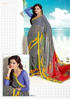 Bhuwal FashionBlack Red Blue Georgette Saree  with UnStiched Blouse