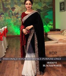 Buy black plain georgette saree sridevi-saree online