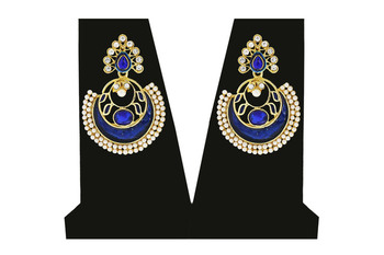 Blue Coloured and Gold Plated Earring