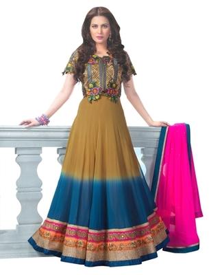 Triveni Miraculous Brown Colored Wedding Wear Semistitched Long Anarkali TSANSK7005