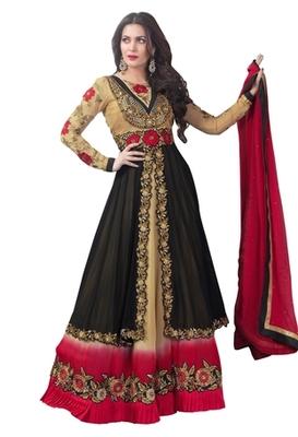 Triveni Miraculous Black Colored Wedding Wear Semistitched Long Anarkali TSANSK7006