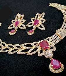 Buy Georgeous high gold plated rubys stones necklace set curated-jewelry online