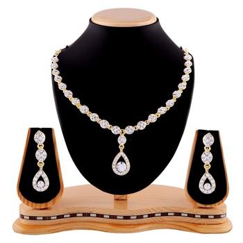 Exotic White Stone Gold Finishing Necklace Set