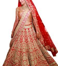 Buy Red raw silk embroidered semi stitched lehenga choli lehenga-choli online