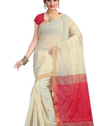 Buy white hand woven silk saree With Blouse kota-silk-saree online