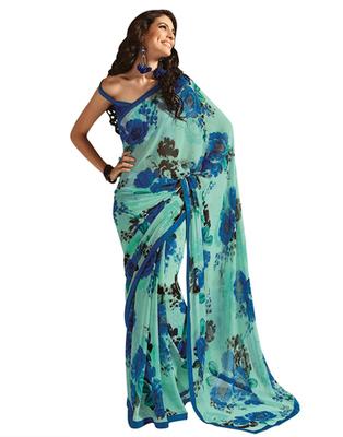 Dealtz Fashion Sea Green Georgette  Saree