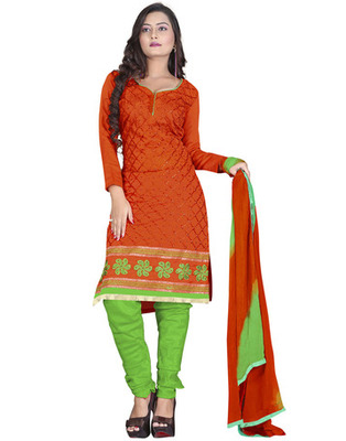Orange Colored Chanderi Silk Embroidered Unstitched Salwar Kameez