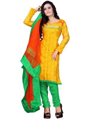 Yellow  Colored Banarasi Silk Printed Salwar Kameez