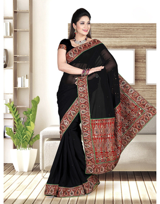 Dealtz Fashion Black Gerogtte Saree With Crystal Work And Shiffli Short Palu And Lace