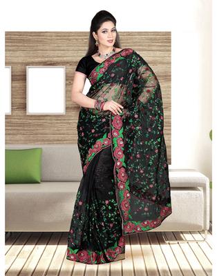 Dealtz Fashion Black Nett Parsi Border And Jall Work Saree