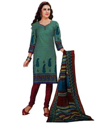 Salwar Studio Blue & Maroon Cotton Printed unstitched churidar kameez with dupatta MCM-4420